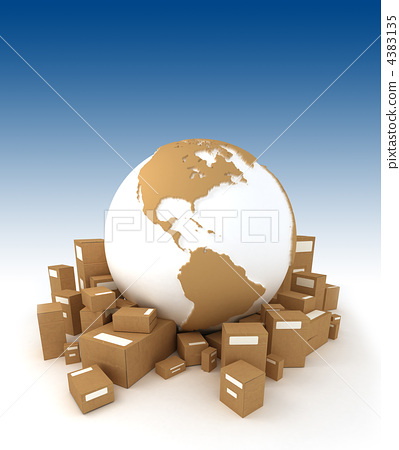 World globe in white and carboard texture, surrounded by package 4383135