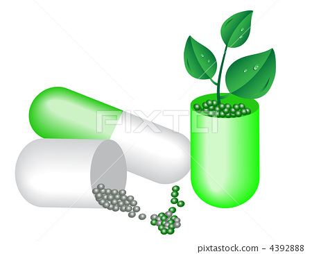 Capsule of medicine and young plants. 4392888