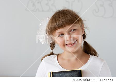 Cute preteen schoolgirl portrait near whiteboard 4467633