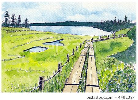 Watercolor picture Hachimantaira 4491357