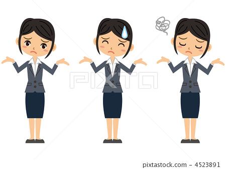 속수무책 여성 (검은 머리) 4523891