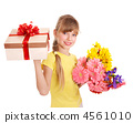 Child holding gift box and flowers. 4561010