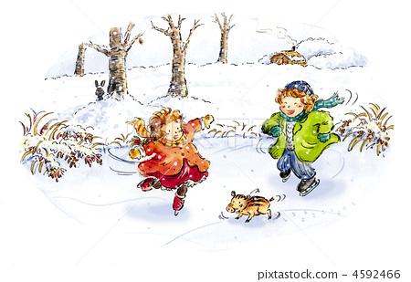 Boys and girls skating 4592466