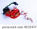 วัสดุปีใหม่ปีใหม่ลวดลาย Yuzen งู·หัวสิงโตตำแหน่งแนวนอนสีขาวด้านหลัง 4635437