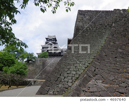 [100 Famous Castles in Japan] [Special Historic Site] Ishigaki and the Reconstruction Tower of Kumamoto Castle, Chuo Ward, Kumamoto City, Kumamoto Prefecture 4697640