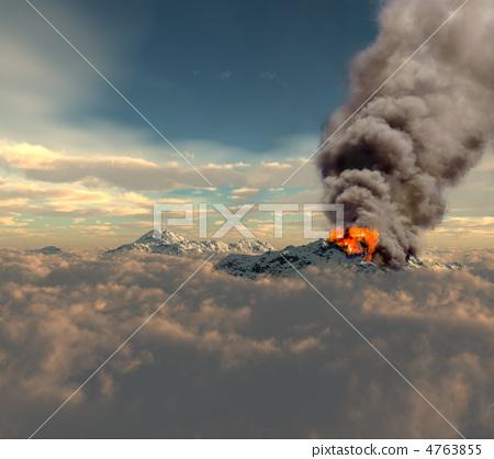 erupting of volcano 4763855