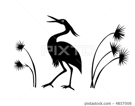 vector silhouette crane on white background 4837006