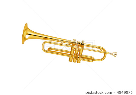 Golden trumpet isolated 4849875