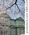 Old Hunter house and cherry blossoms (Heterogeneity in the Oji zoo) 4881220