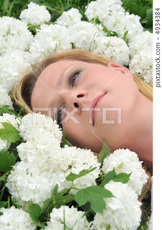Young woman laying in flowers - snowballs 4934384
