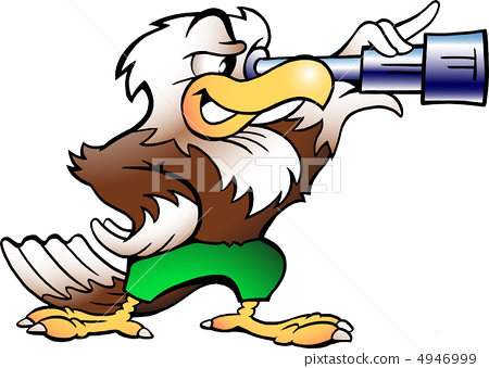 Hand-drawn Vector illustration on an Eagle Watching in Binucular 4946999