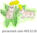 two dandelions in the hamster. watercolor 4953218