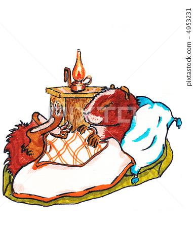 Sleeping guinea pig. Tale. watercolor 4953231