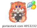 hamster and a balloon. watercolor 4953232