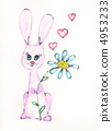 Rabbit, flowers and hearts. watercolor 4953233
