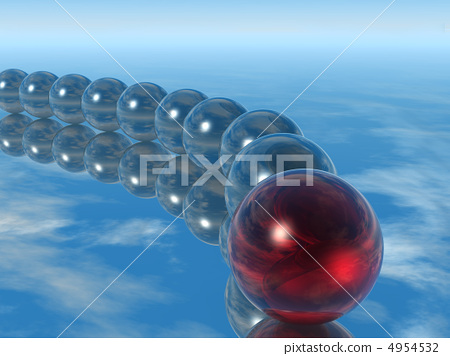 Row spheres with leader red color 4954532