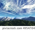 storm sky above snow tops of mountains and tree 4954764