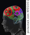 Transparent man's skull with colour curve gears 4955001