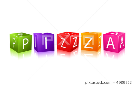 word pizza composed from colorful cubes 4989252