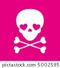 頭骨標記 -  02■頭骨,骨頭,心臟,白色,粉紅色 5002595