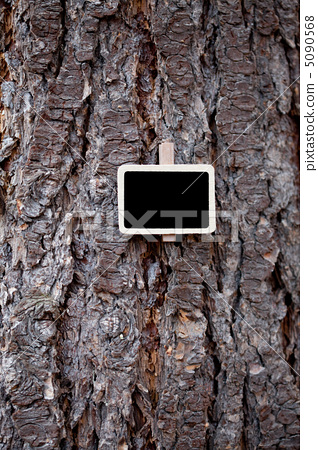 blackboard attached to a background of tree bark 5090568