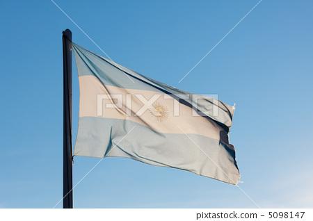 Flag of Argentina against the blue sky 5098147