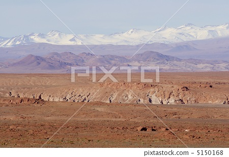 South America Chilean northern part of the Atacama Desert at 2,500 m above sea level and the Andes in the snow that faces beyond it 5150168