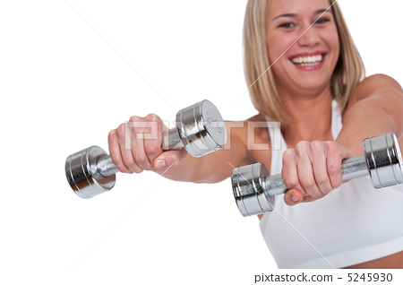 Fitness series - Blond woman with silver weights 5245930