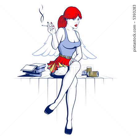 angel girl and drink the beer smoke 5393283