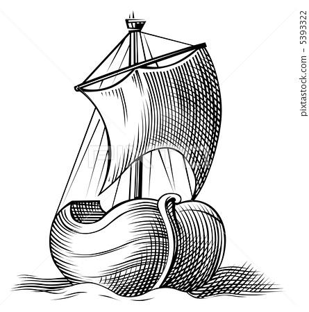boat icon engraving in vector 5393322
