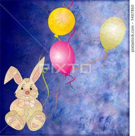 brown grey toy rabbit with three color balloons 5497860