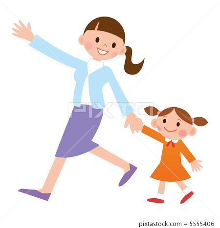 Parent and child walk 5555406