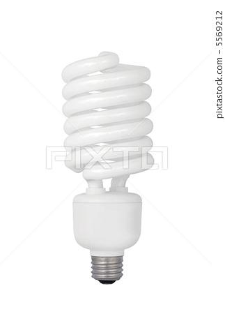 Energy saving fluorescent light bulb on white 5569212