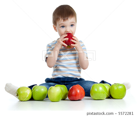 child with healthy food apples 5572281