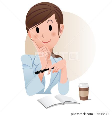 Working woman coffee illustration pen note 5633372
