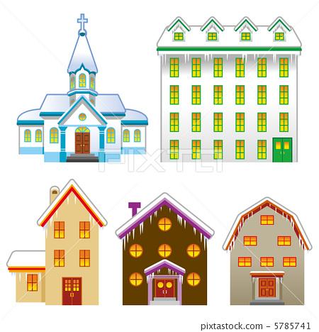건물 세트 / 집과 교회 5785741
