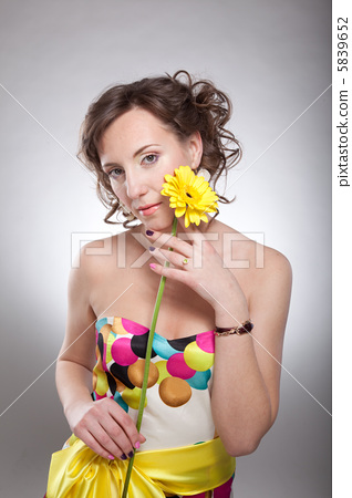 Beauty face - happy young cute woman with bright roses 5839652