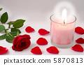 เทียนและดอกกุหลาบสีแดงและกลีบดอก 5870813