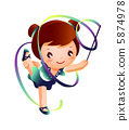Girl practicing rhythmic gymnast performing with ribbon 5874978