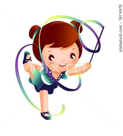 Girl practicing rhythmic gymnast performing with ribbon 5874978