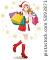 Christmas shopping gift Santa cap sale female illustration white back 5893871