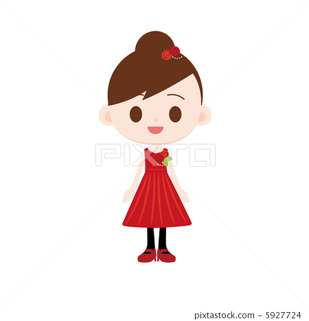 Party dress girl with red roses 5927724