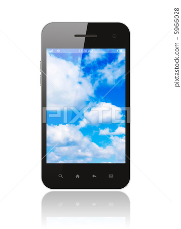 Smart phone with blue sky on white background  5966028