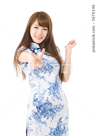 A woman in a Chinese dress 5979146