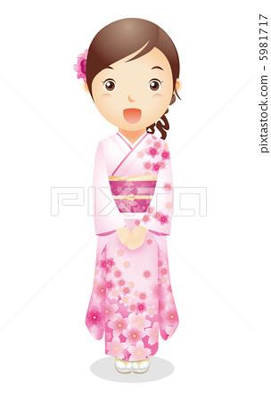 Female illustration of kimono figure 5981717