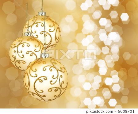 Three beautiful golden christmas balls 6008701