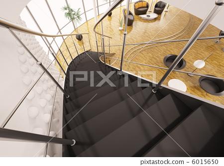 Metal staircase with black steps 3d render 6015650