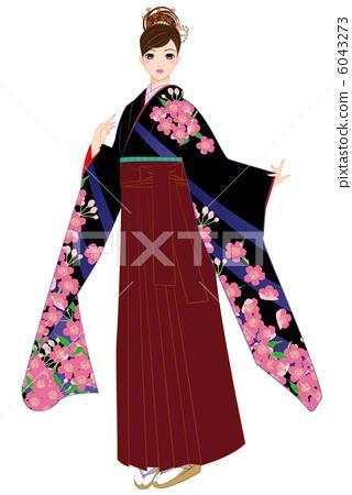 Hakama pretty sakura in kimono 6043273