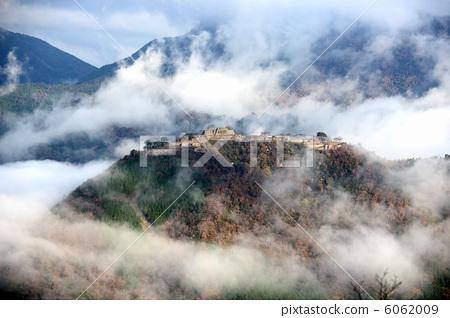 Stock Photo: asago city, takeda castle, castle in the sky