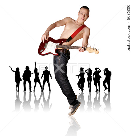 punk man with the guitar and silhouette 6085880